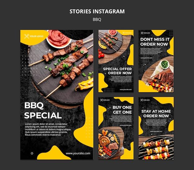 Collection d'histoires instagram pour un restaurant barbecue