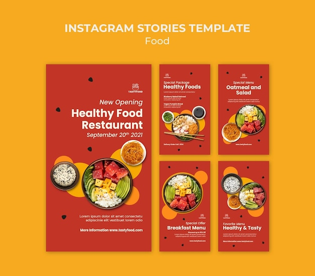 Collection d'histoires instagram pour restaurant avec bol de nourriture saine