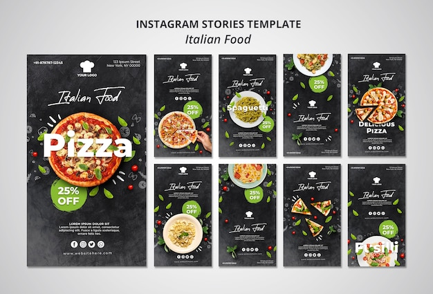 Collection d'histoires instagram pour un restaurant de cuisine italienne traditionnelle