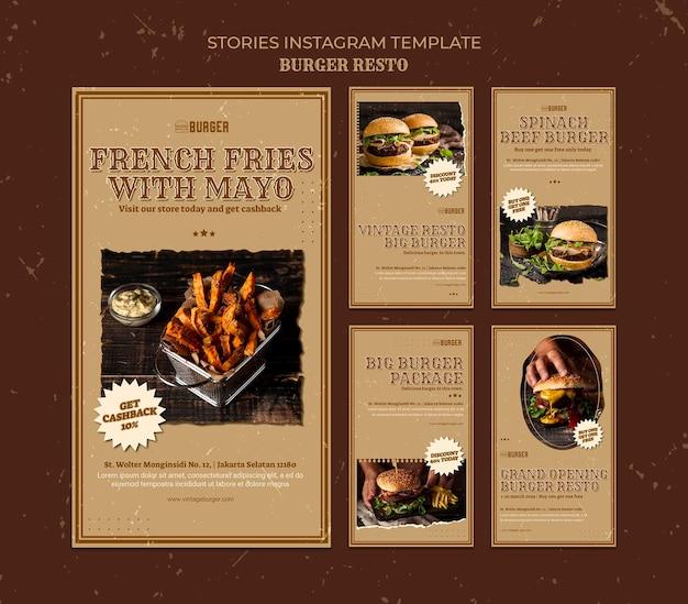Collection d'histoires instagram pour un restaurant de hamburgers