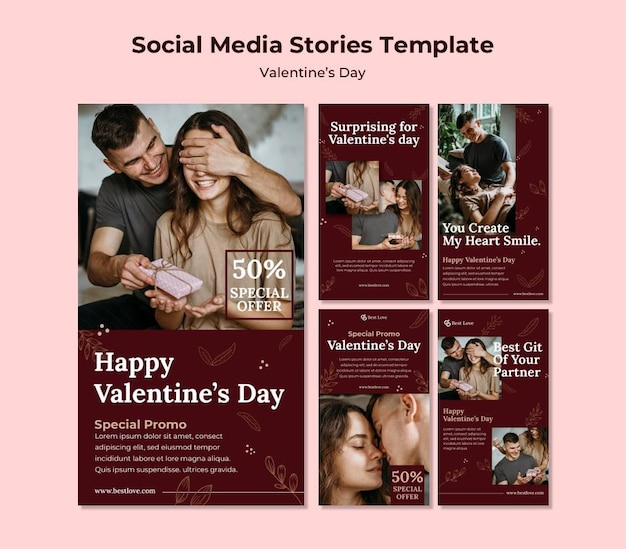 Collection d'histoires instagram pour la saint-valentin avec un couple romantique