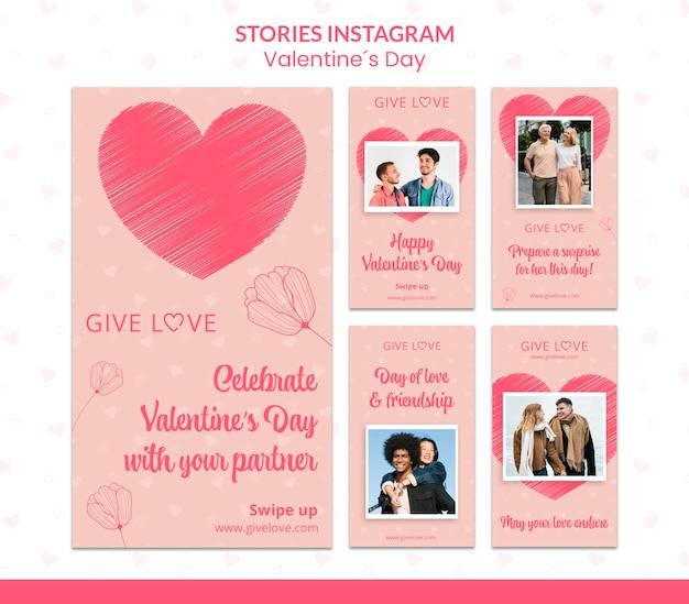 Collection d'histoires instagram pour la saint-valentin avec photo de couple