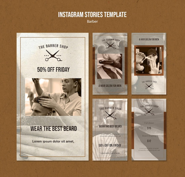 Collection d'histoires instagram pour salon de coiffure