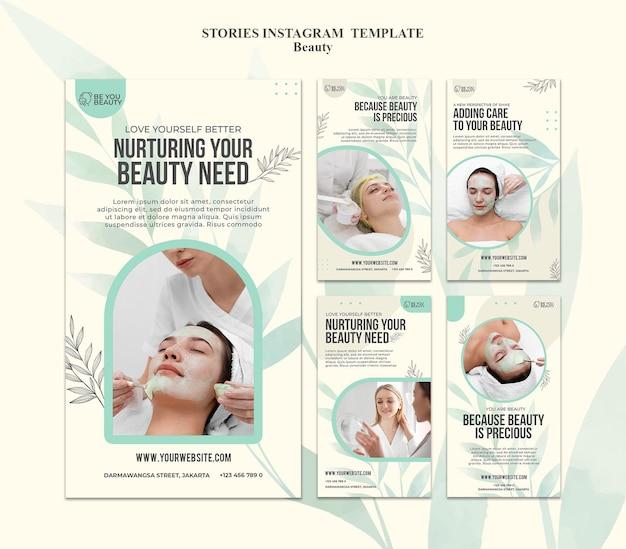 Collection d'histoires instagram pour les soins de la peau et la beauté avec une femme