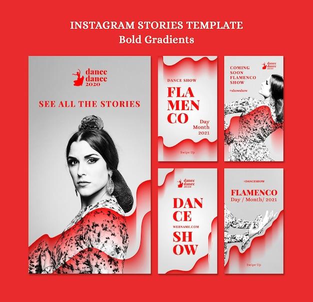 Collection d'histoires instagram pour un spectacle de flamenco avec une danseuse