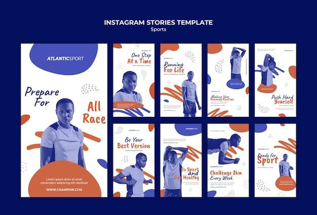 Collection d'histoires instagram pour le sport avec un athlète masculin