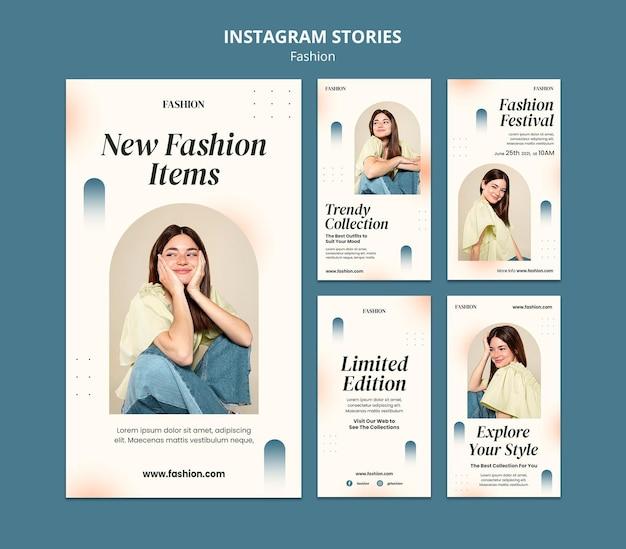 Collection d'histoires instagram pour le style de la mode et les vêtements avec femme