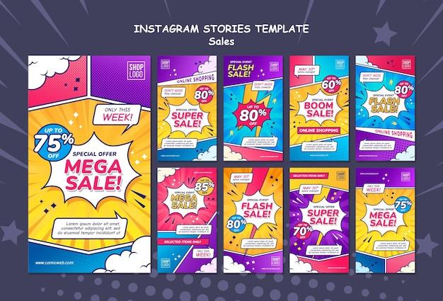 Collection d'histoires instagram pour les ventes dans le style bande dessinée