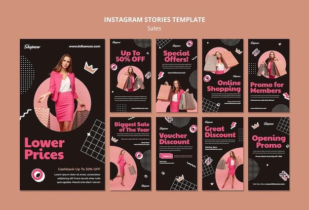 Collection d'histoires instagram pour les ventes avec une femme en costume rose