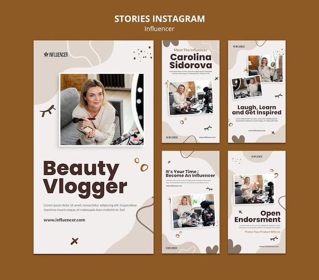 Collection d'histoires instagram pour vlogger beauté avec jeune femme