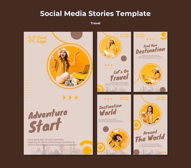 Collection d'histoires instagram pour voyager dans le temps de l'aventure