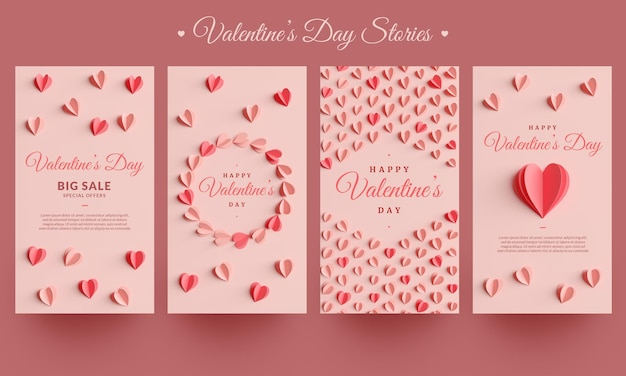 Collection d'histoires instagram de la saint-valentin au design plat