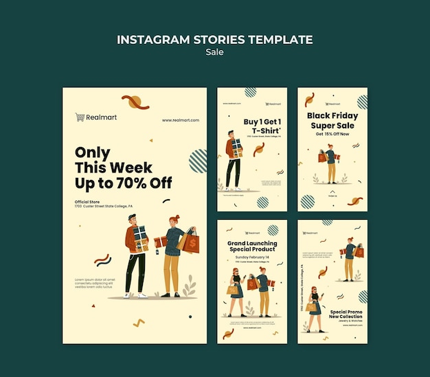 Collection d'histoires instagram à vendre avec des personnes et des sacs à provisions