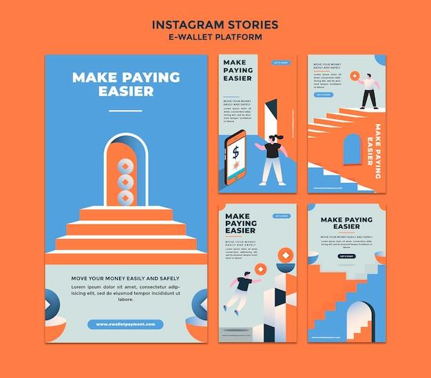 Collection d'histoires sur les réseaux sociaux de l'application de portefeuille électronique