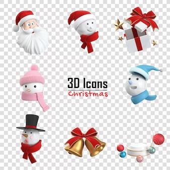Collection d'icônes de noël en rendu 3d
