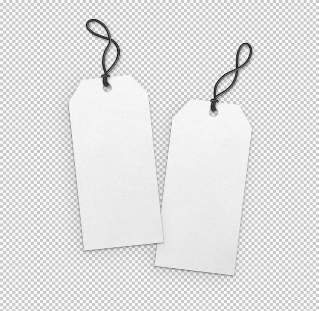 Collection isolée d'étiquettes blanches