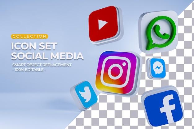 Collection de jeu d'icônes de médias sociaux rendu 3d