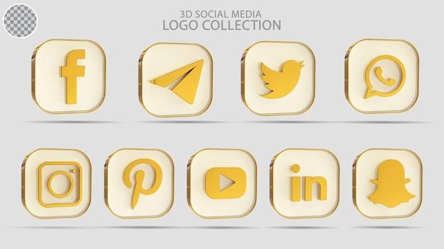 Collection de logos de médias sociaux 3d avec style doré