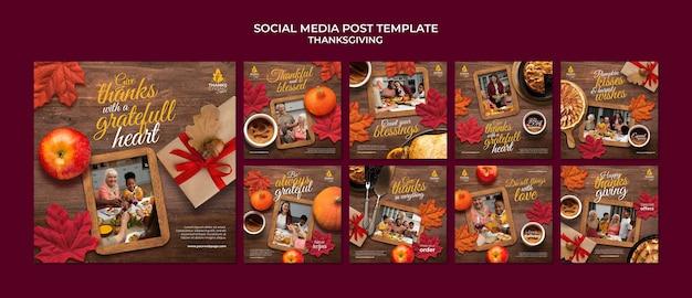 Collection De Messages Ig Joyeux Jour De Thanksgiving PSD Premium