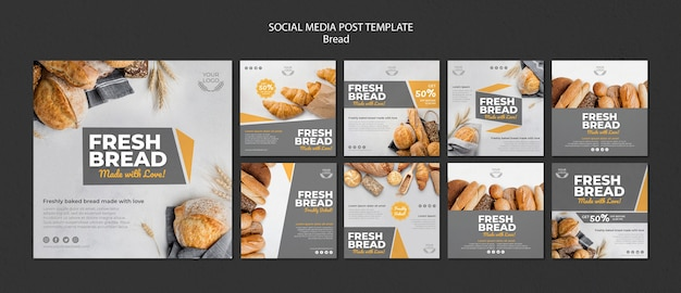 Collection de messages instagram pour une boulangerie
