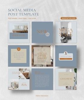 Collection minimale de modèles de publication sur les médias sociaux pour meubles