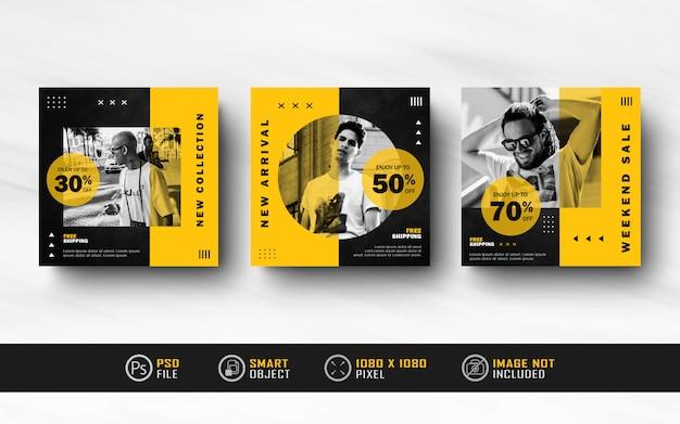 Collection de modèles de bannière de flux de publication de médias sociaux instagram jaune noir