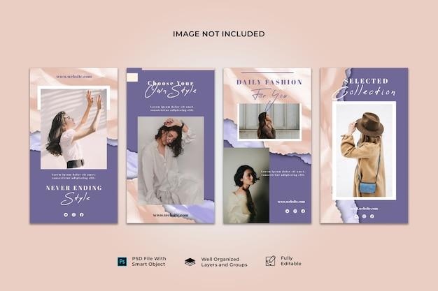 Collection de modèles de bannière de publication d'histoire instagram de médias sociaux