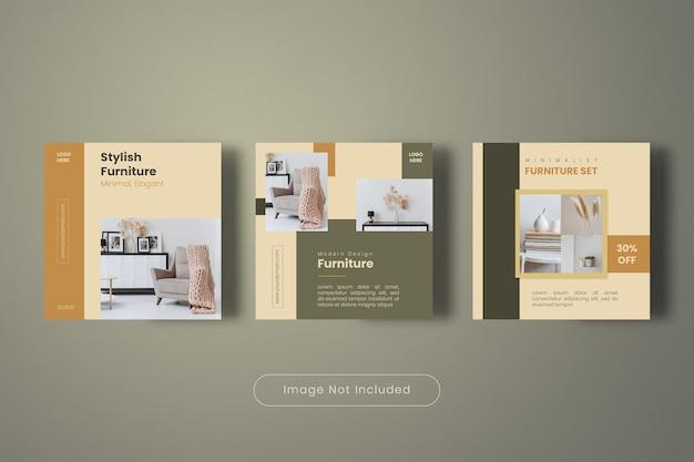 Collection de modèles de bannière de publication instagram de meubles élégants