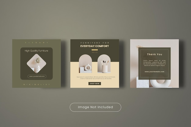 Collection de modèles de bannière de publication instagram de meubles de haute qualité