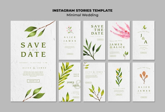 Collection de modèles d'histoires de mariage créatives