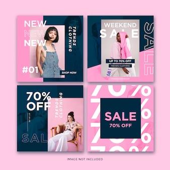 Collection de modèles de publication de médias sociaux de bannière de mode