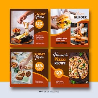 Collection de modèles de publication de médias sociaux de bannière de restauration rapide