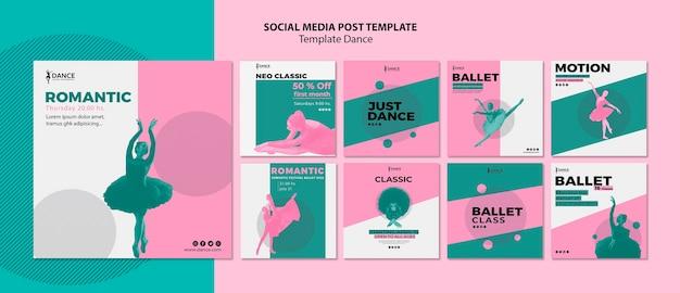 Collection de modèles de publication de médias sociaux de danse