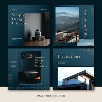 Collection de modèles de publication de médias sociaux de meubles modernes