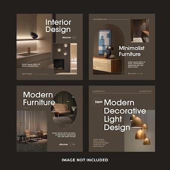 Collection de modèles de publication sur les médias sociaux de meubles modernes
