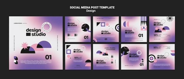 Collection de posts instagram géométriques pour studio de design