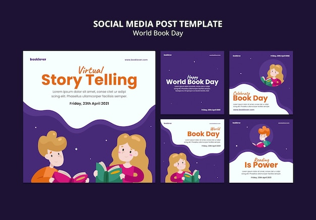 Collection de posts instagram de la journée mondiale du livre