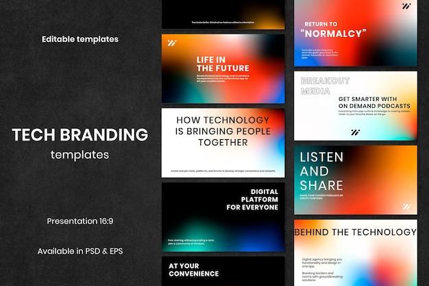 Collection de présentation psd de modèle de marketing technologique dégradé