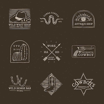 Collection psd de logo sur le thème des cow-boys