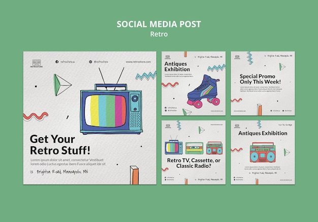 Collection de publications instagram avec des articles rétro