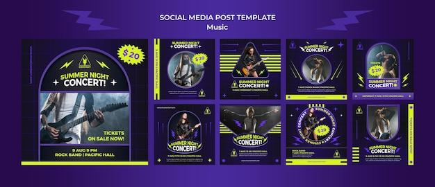 Collection de publications instagram au néon pour le concert d'une nuit d'été