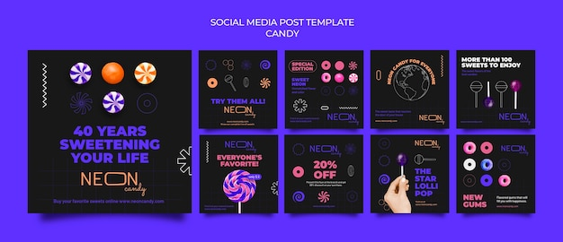 Collection de publications instagram au néon pour magasin de bonbons