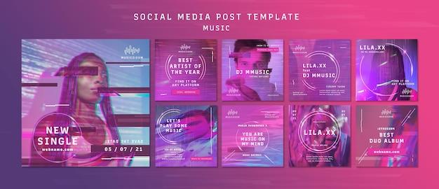 Collection de publications instagram au néon pour la musique avec un artiste