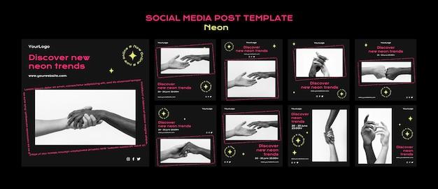 Collection de publications instagram au néon pour les nouvelles tendances en ligne