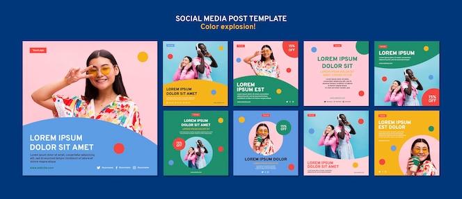 Collection de publications instagram aux couleurs vives