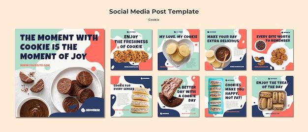 Collection de publications instagram avec des cookies