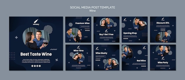 Collection de publications instagram avec couple pour cave