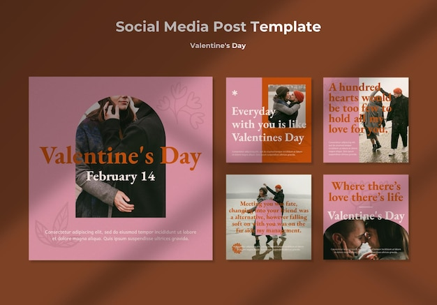 Collection de publications instagram avec un couple romantique