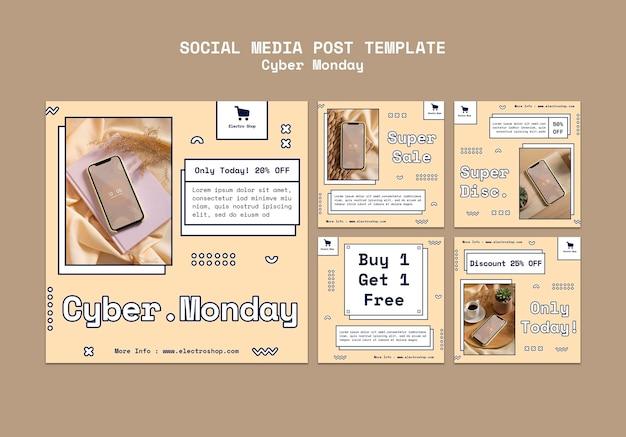 Collection de publications instagram du cyber monday