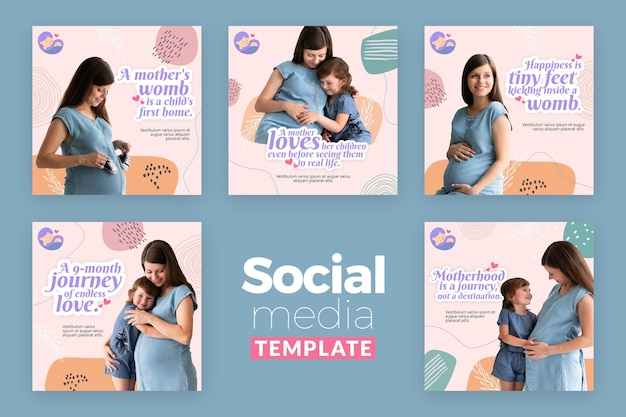 Collection de publications instagram avec une femme enceinte
